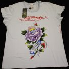 ED HARDY FLOWER DESIGN WITH RHINESTONES NICE T-SHIRT