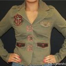 JADED BY KNIGHT: LEATHER AND RED CROSSES JACKET