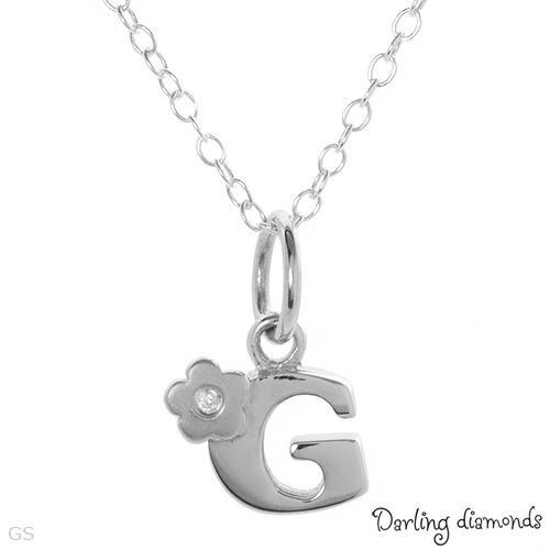 "Darling Diamonds Sterling Silver ""G""Necklace w/Diamonds"