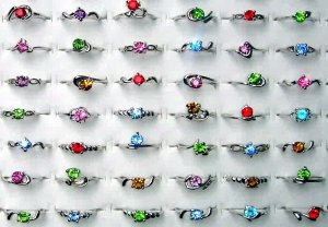 Wholesale Lot Of 50 18 KGP White Gold Gemstone Rings