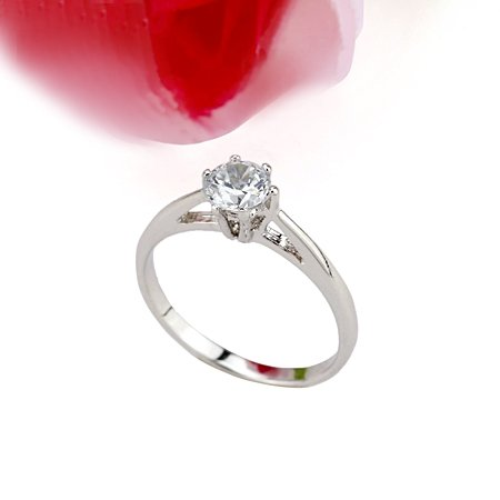 SWEET SIMPLE 18 KGP WHITE GOLD DIAMOND ENGAGEMENT RING SIZE 5**FREE SHIPPING**