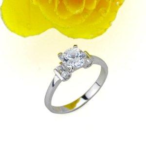 BREATHTAKING 18 KGP REAL WHITE GOLD DIAMOND ENGAGEMENT RING SIZE 7**FREE SHIPPING**