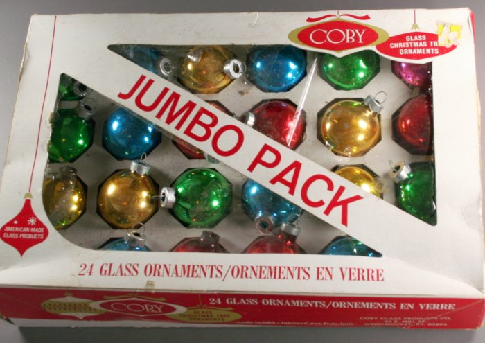 Coby Glass Balls Box  VINTAGE ORNAMENTS 24 Multicolor