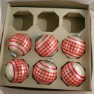 Shiny Brite 60/70s Plaid Stencil Glass Ornament VINTAGE