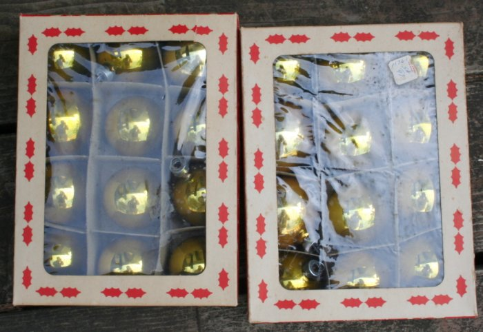 50s Ball VINTAGE ORNAMENTS-2 Litho Boxes of 12-Coby