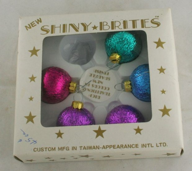 5 New Shiny Brite Ornaments VINTAGE Taiwan-Appearance Intl.