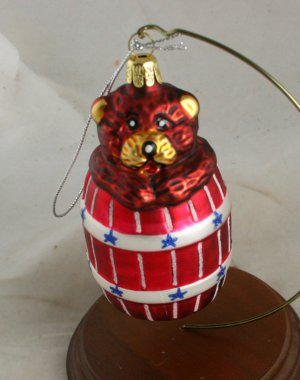 Bear in Barrel Patriotic Figural Ornament -NB No Marks