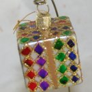 Glittered Package Glass Figural Ornament -NB No Marks
