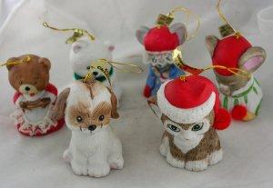 Lil Chimers Ornament-Set of 6-Bisque VINTAGE ORNAMENT
