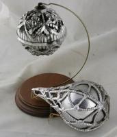 2 Plastic Silver Filigree 1960s VINTAGE ORNAMENTS USA