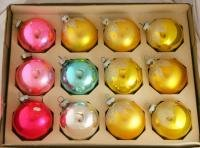 Shiny Brite 60/70s 2-1/4 In Glass Ornaments VINTAGE OB