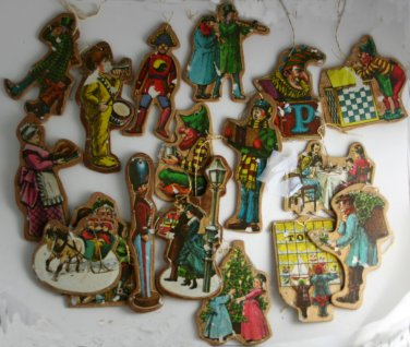 16 Vintage Paper Image on Wood Ornaments