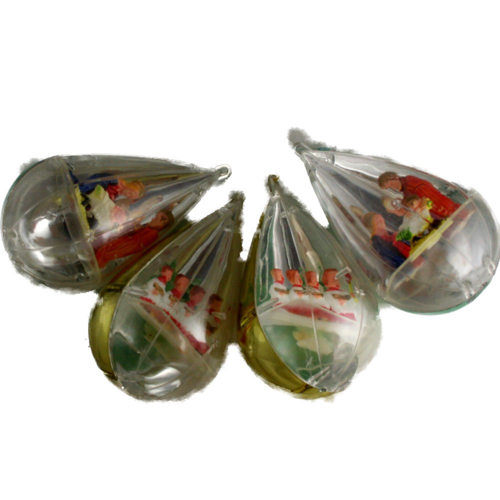 Closed Plastic Teardrop 1950/60s Ornaments-Set of 4 Hard Plastic 4-1/4 Inches