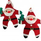 2 Rustic Cloth Santas-Dakin-VINTAGE ORNAMENT-1970s