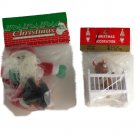 Two 80s era Ornaments In Original Packages- Cloth Santa & Baby Bear