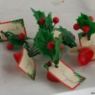 6 Plastic Holly Place Card Holders-1960s Vinyl Holly