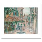 FOUNTAIN ON A COBBLE STREET by Francine Walton. Hand signed limited edition giclee on CANVAS.