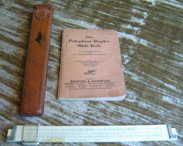 1908 ptnd Keuffel & Esser Slide Rule w/1924 Book 4088-3
