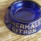 Thermale Citron/Chaudfontaine Cobalt Blue Glass Ashtray
