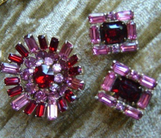 Kramer NY Red & Pink Rhinestone Brooch/Pin & Earrings
