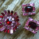 Kramer NY Red & Pink Rhinestone Brooch/Pin & Earrings