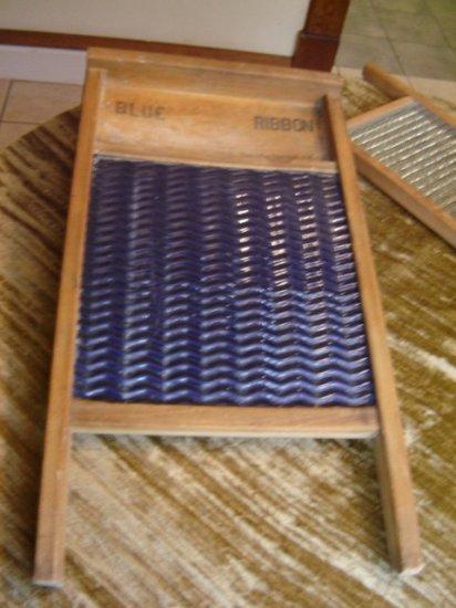OLD Blue Ribbon Norwood Ohio Washboard Porcelain Enamel