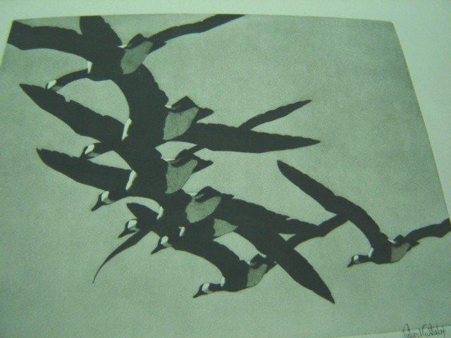 Original Print Geese Overhead sgnd Richard E Bishop '38