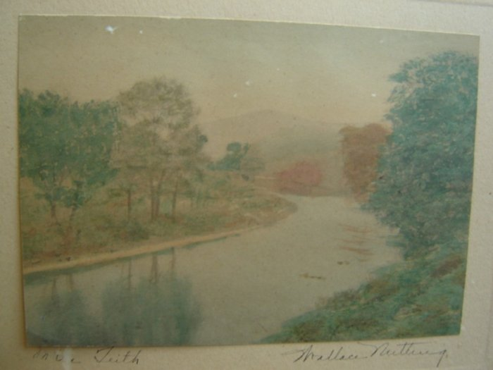 Wallace Nutting Print On The Teith (River) Signed 1920s