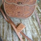VNTG Mexico Leather Purse Hand Tooled Red Lining w/Key