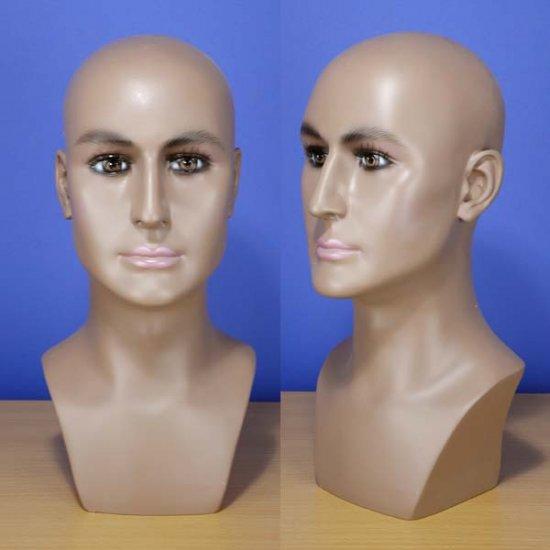 "Brand New 16"" Brown-Black Male Head Mannequin 202B"