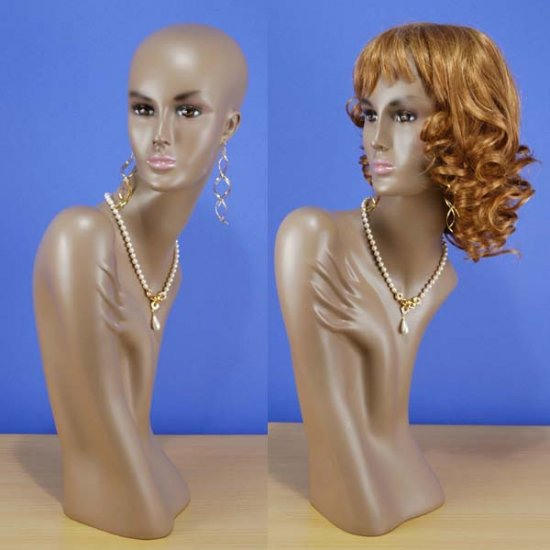 "25"" New Brown-Black Head & Bust Female Mannequin 1013B"