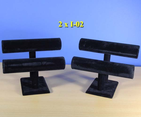 New Two of 2 Tier Black Velvet Jewelry Display T-Bar