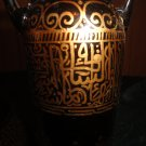 1 brown tall Glass vase Hand drawing islamic home decor