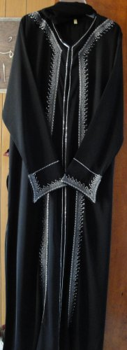 Free SH Princess Extra Large Elegent Black Abaya w Scarf in silver & strass embroidered Jilbab HIJAB