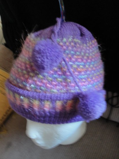 One Size Fashinable Girls Purple& yellow Glittery Hat with 2 cutie balls