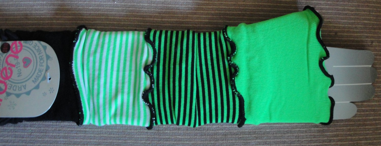FREE SHIPPING green stripped w black HIJAB LONG ARM SLEEVES COVER ,ISLAM