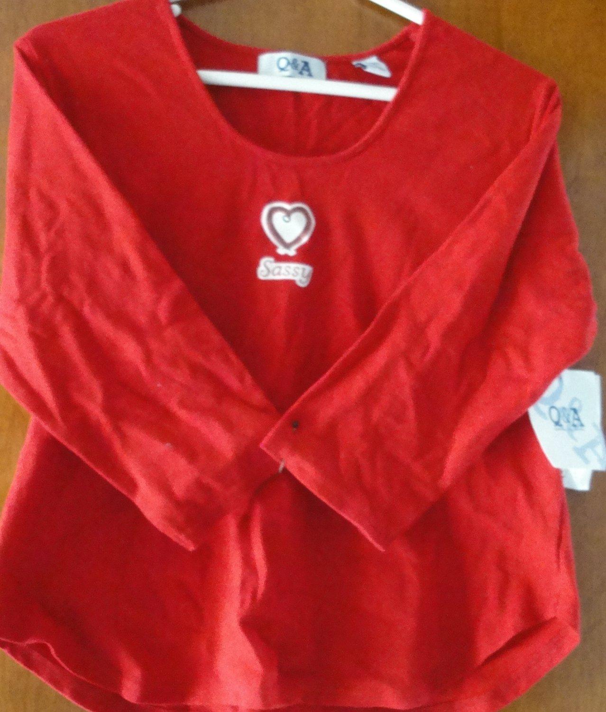 Free Shipping Q&A COTTON T-SHIRT RED SIZE MEDUIM
