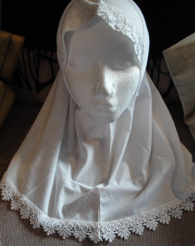 free shipping young girls cotton white plain 1 pc Al amira style Hijab hejab underscarf