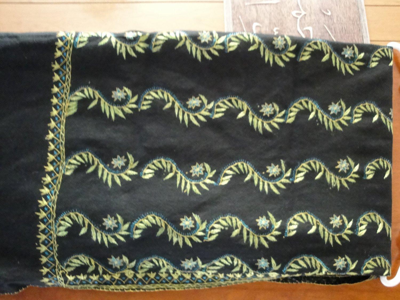 FREE SHIP PASHMINA BLACK WITH GREEN DRAWING Long shayla hijab shawl scarf neck wrap abaya