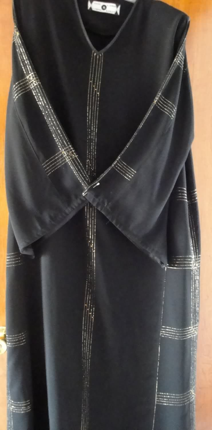 ABAYA Islamic Black Abaya with golden thread & sequin l