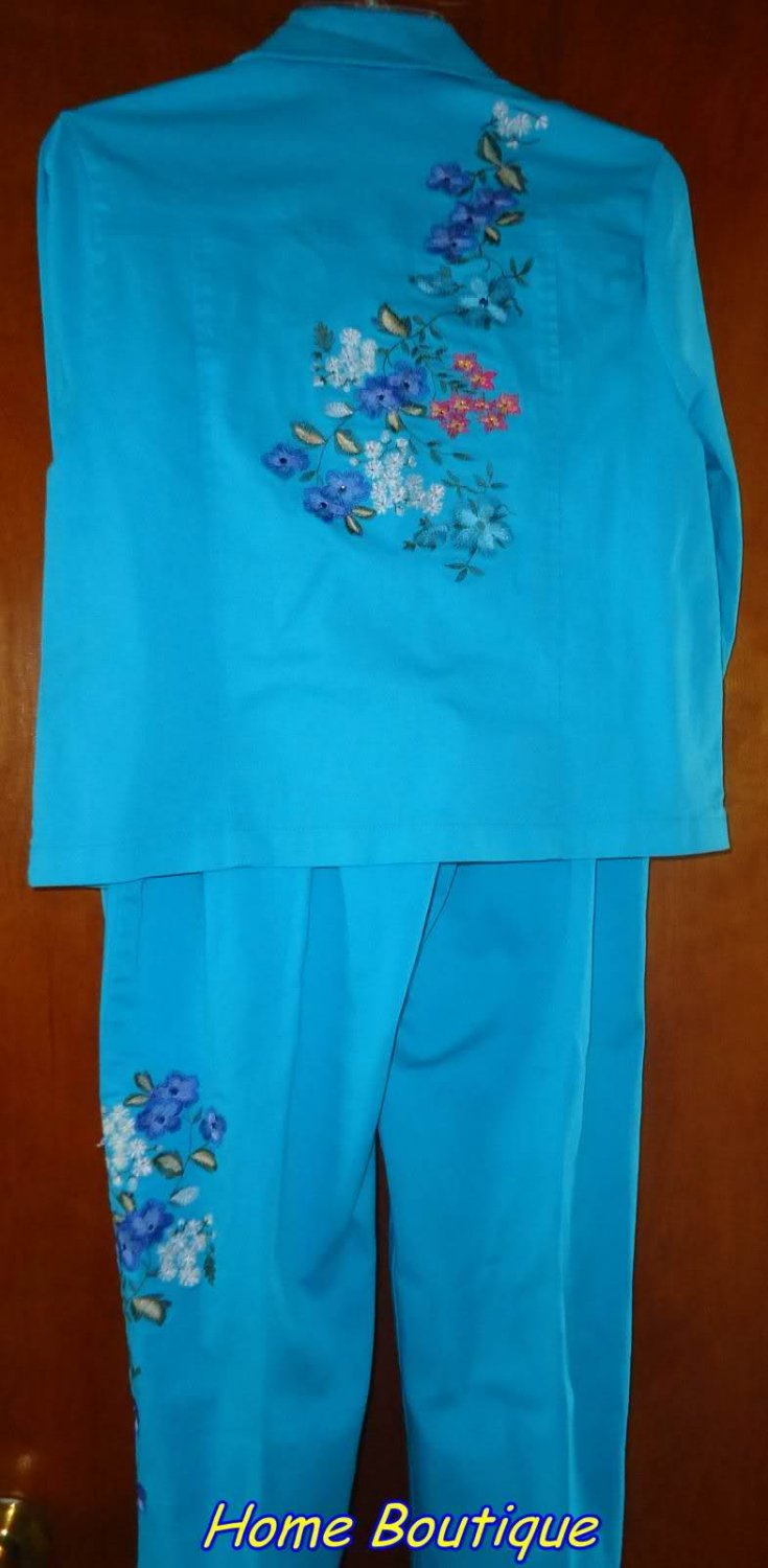 2 pieces SET woman's pant suit EMBROIDRED MEDUIM mint