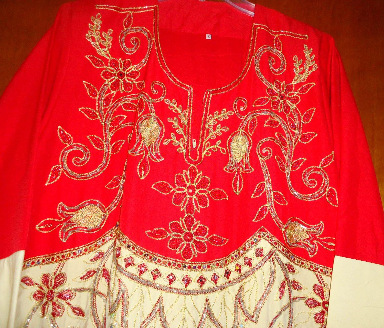 free shipping RED ABAYA Embroidered strasCaftan Katan Jilbab Dress