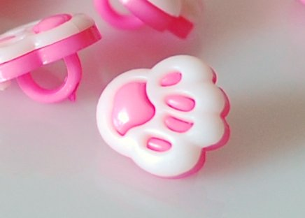 10 Pink Paw Print Sewing Buttons