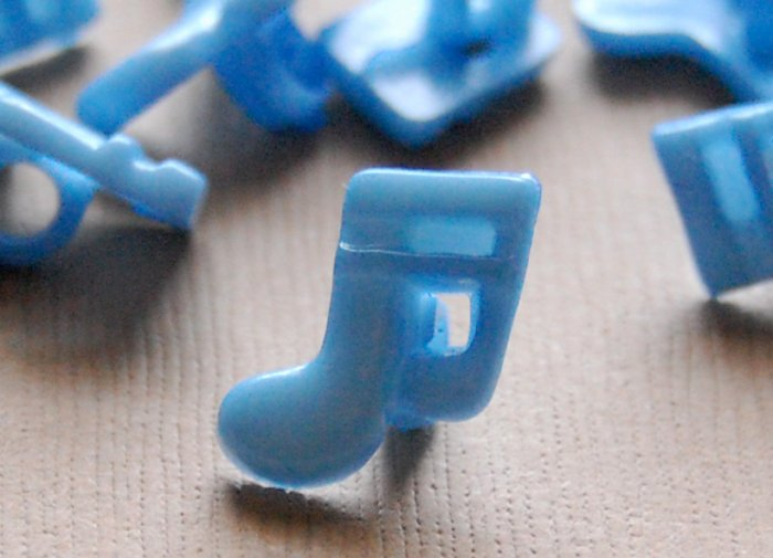 10 Blue Musical Note Sewing Buttons