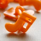 10 Orange Musical Note Sewing Buttons