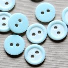 10 Small Baby Blue Round Sewing Buttons