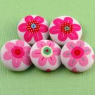 Flower Sewing Buttons - Handmade Fabric Covered Buttons - 5pcs - 1 1/8 inch