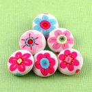 Flower Sewing Button - Handmade Fabric Covered Buttons - 6pcs - 7/8 inch