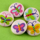 Butterfly Sewing Buttons - Handmade Fabric Covered Buttons - 5pcs - 1 1/8 inch