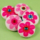 Flower Sewing Buttons w/ Crystals - Handmade Fabric Covered Buttons - 5pcs - 1 1/8 inch